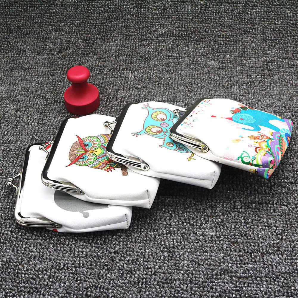 ISHOWTIENDA 1PC Bonito Meninas Bolsa Da Moeda Coruja Crianças Mini PU Carteira Suporte Padrão Zipper Bolsa Da Moeda Dos Desenhos Animados Estudantes Presente # WL