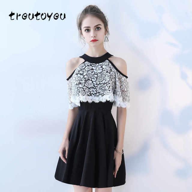 c758ac5d5e0 Treutoyeu Mini White Lace Dress O-Neck Solid Black Vestido Mujer Summer  A-Line Women 2018 New Sexy Party Dresses D009