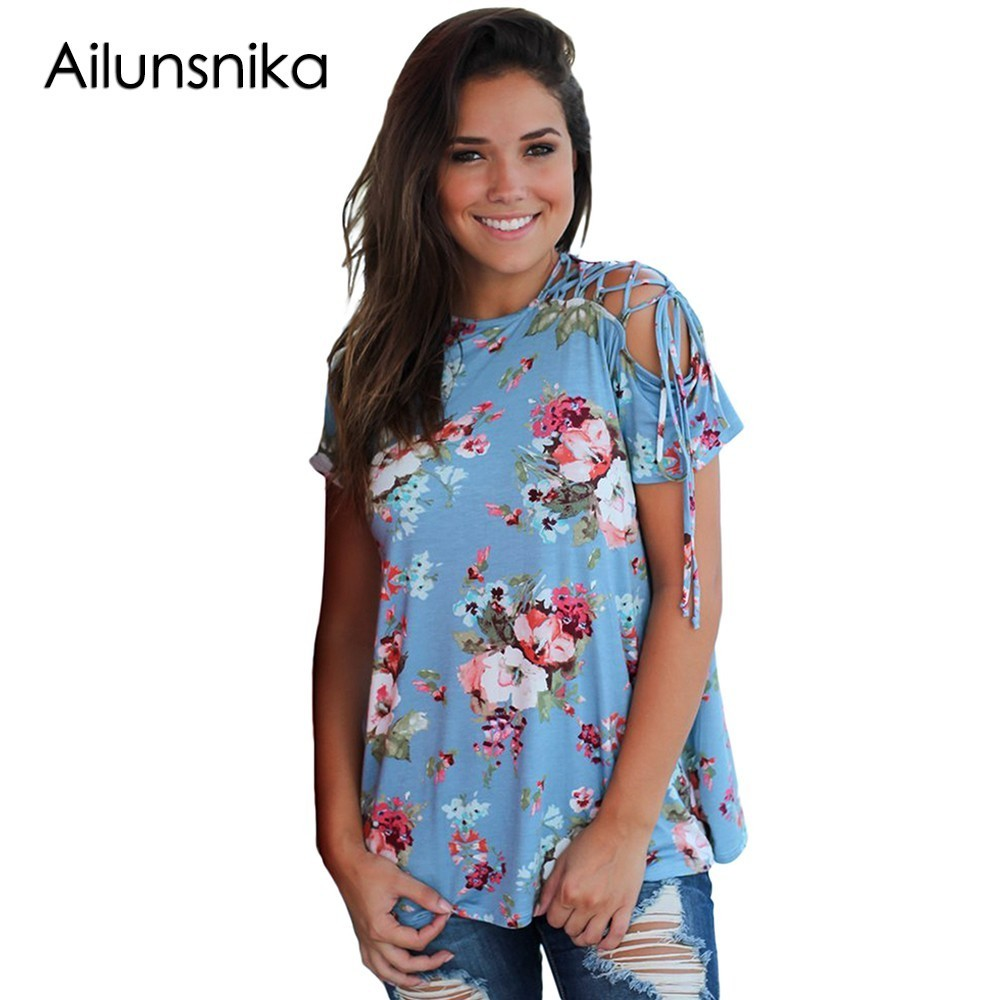 Ailunsnika 2018 New Best Favourite Arrival Summer Womens Casual O-Neck Blue Floral Top with Lace up Shoulder DL250812