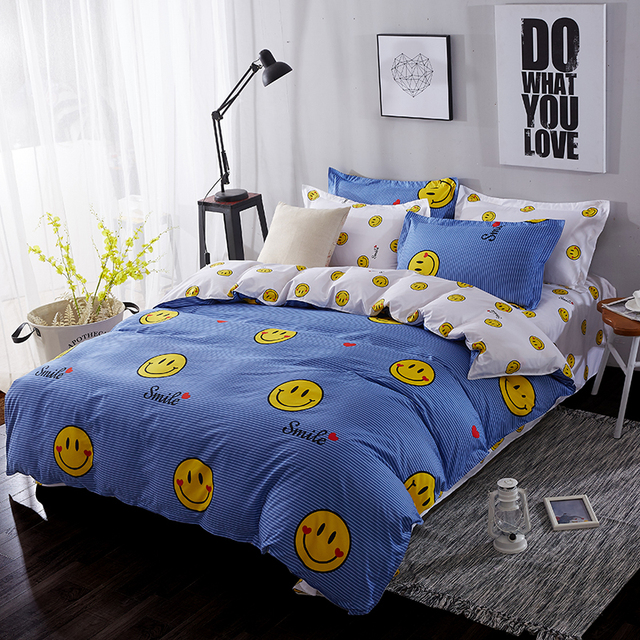 BEST.WENSD  lovely smiling face bedding set 6 size cotton bed sheets+ quilt cover +pillowcases Lattice /wave line bedclothes