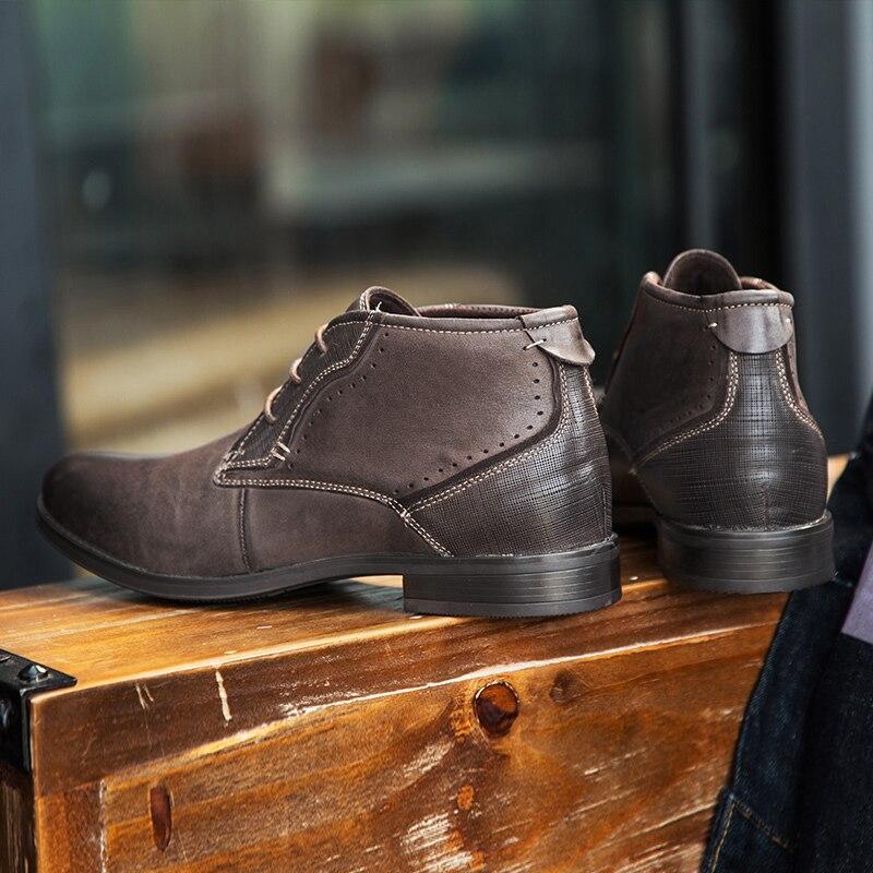Trabalho Couro Pontas Casuais Sapatos Pé Tornozelo marrom Dedo De Homens Ar Yomior Qualidade Alta Outono Ao Chelsea Preto Genuíno Inverno Botas Do Negócios Livre qZnS0xw4