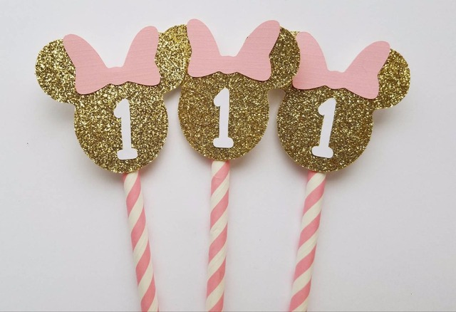 Minnie mouse mixing cupcake topper 1st birthday custom number
