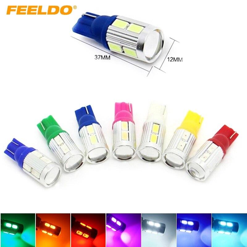 4 шт. T10 W5W 194 168 Клин 10 SMD 10 LED 5630 чип автомобиль светодиодные лампочки с объектива 7 -Цвет DC12V # fd-3044