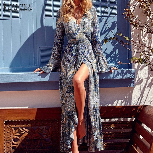 ZANZEA Boho Women Maxi Long Dress 2017 Vintage Pattern Print Flare Sleeve Trumpet Dresses Sexy V-Neck Vestidos Plus Size S-4XL