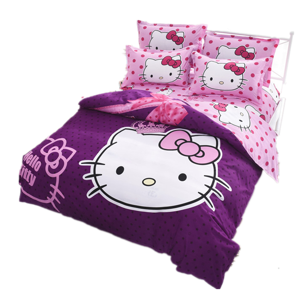 Pink hello kitty bedsheet - Hello Kitty Bedding Set Children Bed Linen Cartoon Duvet Cover Set With Bed Sheet Pillow Case Twin Full Queen Size Free Shipping