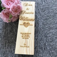 Personalized Wedding Wine Box Wooden Wine Holder Box Rustic Wedding Christmas Gifts Custom Celebration Party Favors
