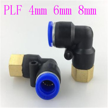 10 pcs PLF pneumatic L 90 Degree Female elbow plastic Push in Fit quick Connector pe pipe fitting