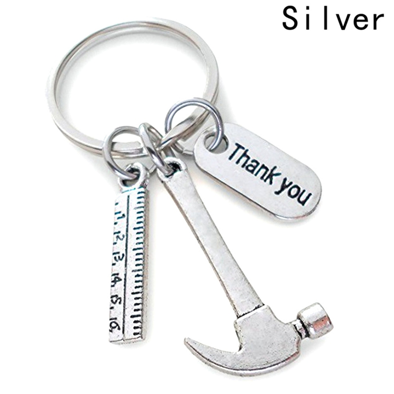 Thank You Letter Fashion Work Tools Tag Metal Men Women Father`s Day Gift Keychain Charm Keyring Ruler Hammer