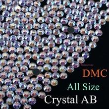 High Quality SS4 to SS50 Crystal AB DMC Hotfix Rhinestone 1.5mm to 9.5mm Glass Strass Hot Fix Iron On Rhinestones Flatback