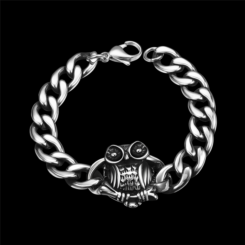 Owl Charm Bracelets Hiphop Rock 316L Stainless Steel Cool Jewelry Gift for Birthday Party Male Accessories Pulsera men bracelet