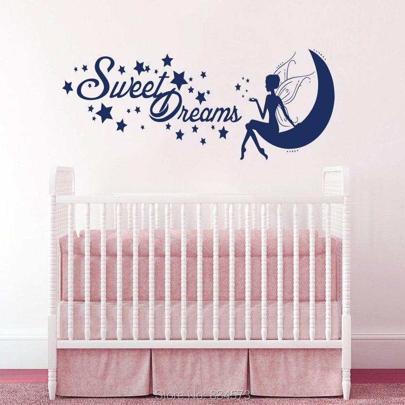 Fairy Princess Wall Mural Part   42: Fairy Princess Moon Sweet Dreams Wall  Art Stickers Part 47