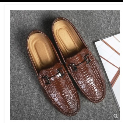 2019 four seasons new men's shoes casual shoes crocodile shine leather loafers business trend beanshoesmen shoes 2