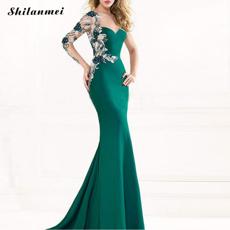 Elegant Green Long Evening Party <font><b>Dress</b></font> 2019 Mermaid One Shoulder Jacquard Floral Patchwork Formal Party <font><b>Dresses</b></font> plus size <font><b>4XL</b></font> image