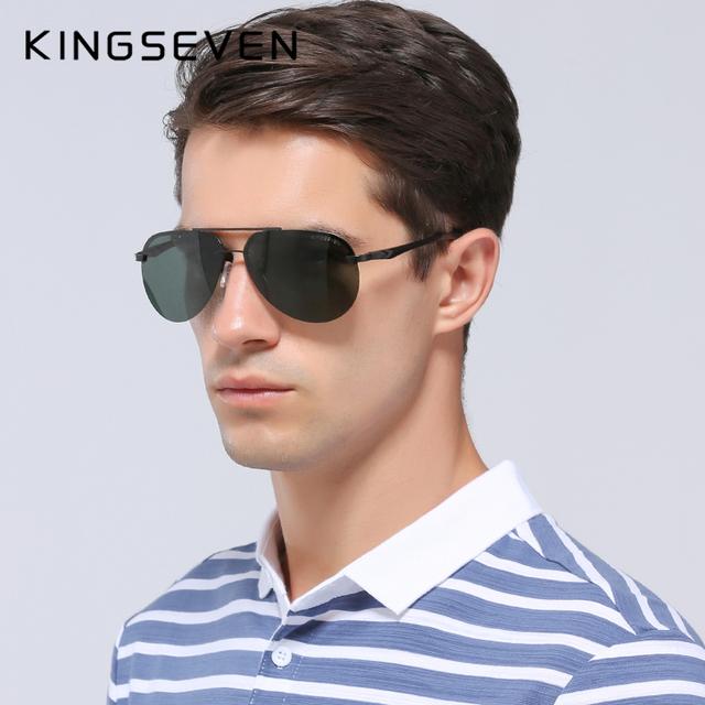 KINGSEVEN Men's Polarized Pilot Sunglasses, Aluminum Frame, Best for Driving and Fishing
