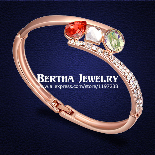 Trendy Brand Bracelet Pulseras bracelets bangles Women With Swarovski Elements Crystal Cristal  Gold Filled Bijoux Jewelry