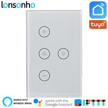 Lonsonho 2 In 1 Wifi Smart Fan Light Switch Touch Panel Wall Tuya Life App Works With Alexa Google Home IFTTT