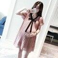 2016 mulheres Grávidas grandes estaleiros da Coreia acomodatícia acomodatícia curta-mangas compridas mulheres saia vestido vestidos de chiffon de maternidade de verão