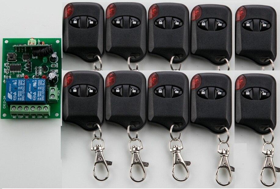 Sistema del Interruptor de Control Remoto Inalámbrico DC12V 2CH teleswitch 1 * Receptor + 10 * Transmisores para Electrodomésticos Puerta del ojo de gato La Puerta del garaje