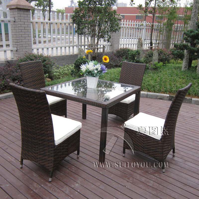 5 Pcs Excellent Rattan Garden Dining Sets For Dining Room / Conservatory Transport By Sea