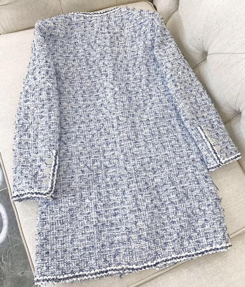 Décontracté Veste 2019 Tweed Bule Long Pour Qualité Printemps D'extérieur Supérieure Manteau Femmes Mode Vêtements wqEURnX6