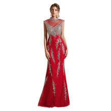 Milomi.CP Luxury Red Lace with Beading O-Neck Mermaid dress
