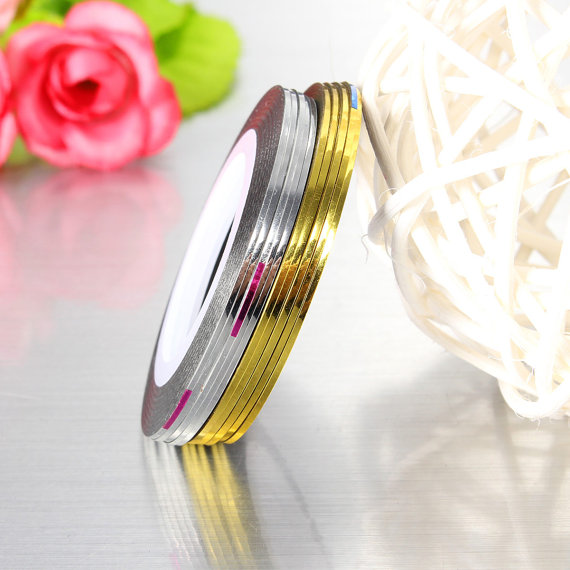 10 Rolls Gold Silver Colors 1mm Nail Art Striping Tape Line Sticker Decal Nail Sticker Nail Art DIY Adhesive Stickers Gel Polish in Stickers Decals from Beauty Health