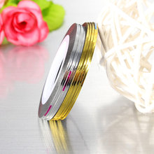 10 Rolls Gold/Silver Colors 1mm Nail Art Striping Tape Line Sticker Decal DIY Adhesive Stickers Gel Polish