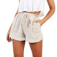Женские шорты с высокой талией, пляжные шорты с бантом, модные женские летние повседневные шорты