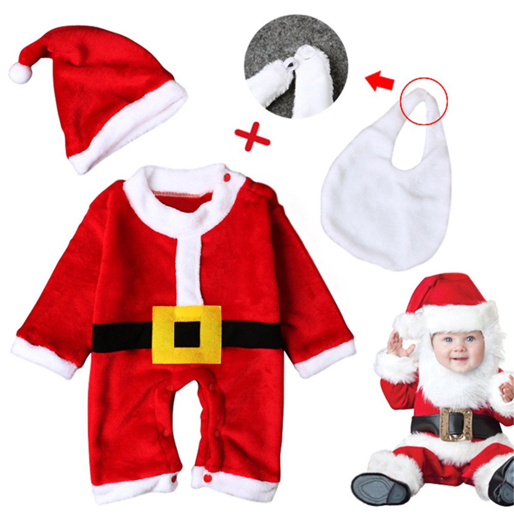 cosplay Christmas baby clothes santa claus red costume for baby boys girls newborn Jumpsuits/hat/Saliva pad set for new year