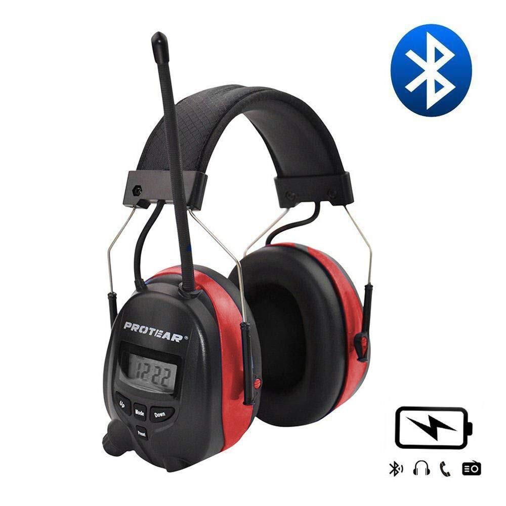 Protetor Auditivo 25dB NRR Protear 1200mAh Bateria De Lítio Bluetooth AM/FM Radio Earmuffs Proteção de Orelha Eletrônico