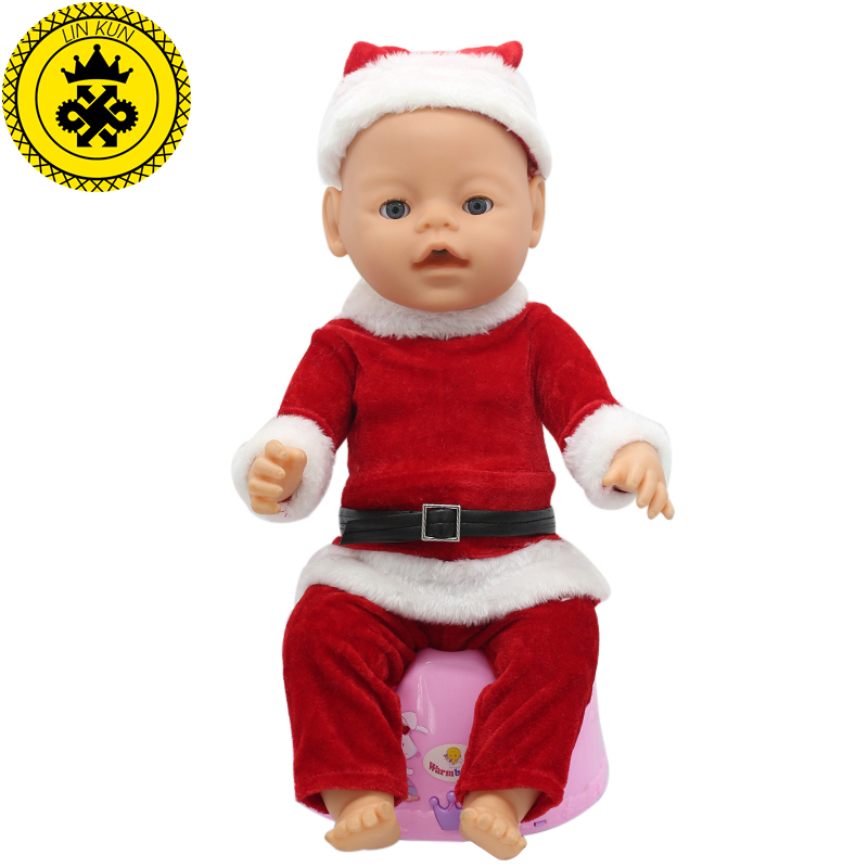 Fit 43cm Baby Born zapf Christmas Suit Hat+Clothes+Pants Doll Accessories Leisure Clothes Children Christmas Happy Gift 029 purple baby born doll dress clothes fit 43cm baby born zapf or 17inch doll accessories handmade fashion party skirt 015