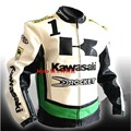 Motocicleta ropa de montar ropa a prueba de viento de otoño de la chaqueta de cuero de LA PU material de calidad chaqueta de carreras para Kawasaki