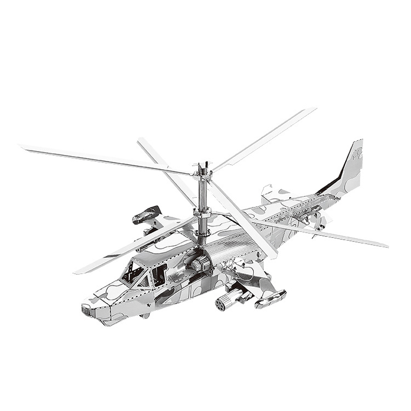 Nanyuan 3D Metal Puzzle Ka-50 Helicopters Airplane Model DIY Laser Cut Assemble Jigsaw Toys Desktop Decoration GIFT For Audit