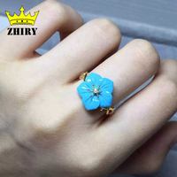Real Blue Turquoise Ring 100 Natural Gem Stone Genuine Solid Sterling Silver Yellow Gold Plated Woman