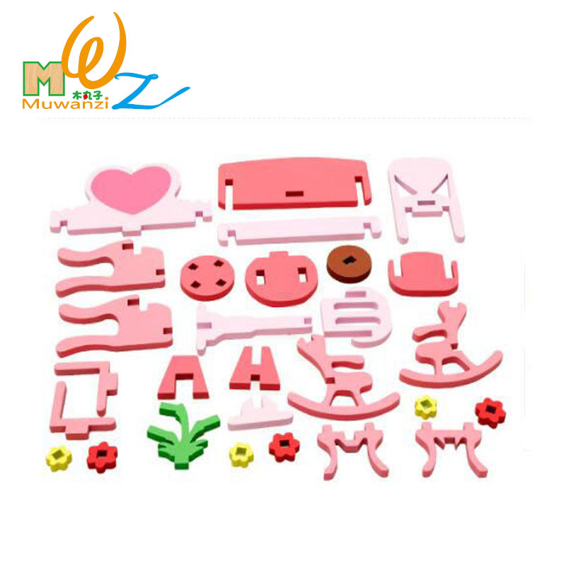 MWZ 3D Wooden Assembling Dressing Table Set Kids Educational Puzzle Toy Miniature Furniture Girl Wood Toys For Children Gifts