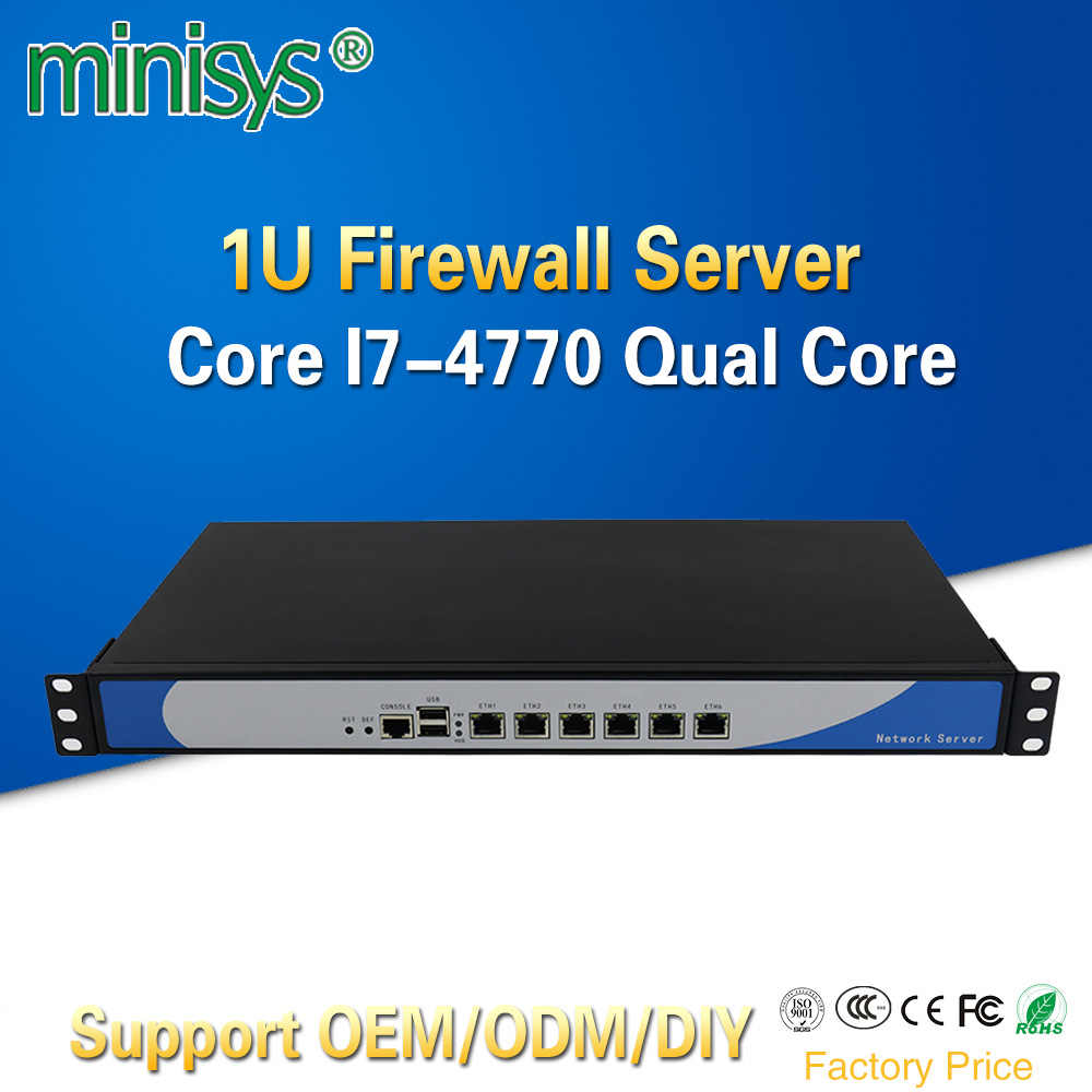 Minisys 6 Lan 1U Firewall Appliance Rack Server Intel i7 4770 Quad Core 2*DDR3 Ram Pfsense Router OS PC for Network Security