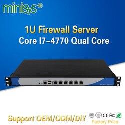 Minisys 6 Lan 1U Firewall Apparaat Rack Server Intel i7 4770 Quad Core 2 * DDR3 Ram Pfsense Router OS PC voor Netwerkbeveiliging