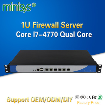 Minisys 6 Lan 1U Firewall Appliance Rack Server Intel i7 4770 Quad Core 2*DDR3 Ram Pfsense Router OS PC for Network Security