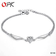 OPK JEWELRY Silver Color Anklet Foot Jewelry Heart & Wings Reasonable Price Hot Fashion Heart Crystal Inlaided 186