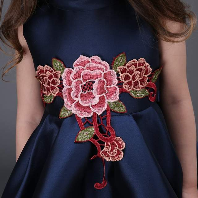 placeholder Embroidered Flower Girls Dress Cotton Princess Navy Blue Casual  Ball Gown for Kids Clothes vestidos infantis 34ab16a6c520