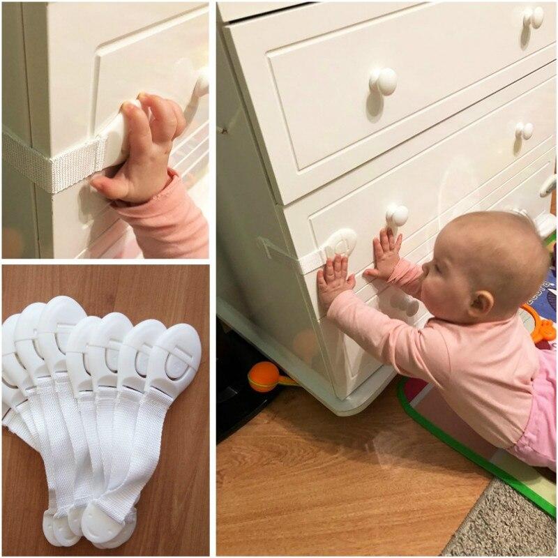 5Pcs/Pack Toddler Safety Lock Cabinet Cupboard Fridge Drawer Door Protection Locks Baby Kids Safety Care Plastic Locks Straps