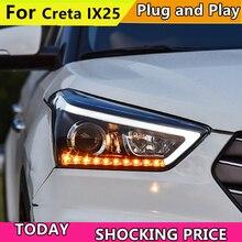 רכב פנס פנסי ליונדאי Creta 2015 LED פנס עבור IX25 ראש מנורת LED בשעות היום ריצת אור LED DRL Bi  קסנון HID
