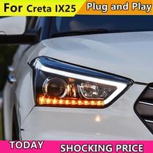 車のヘッドライトヘッドライト現代 IX25 ため Creta 2015 LED ヘッドライトヘッドランプは昼間走行用ライト LED DRL バイキセノン HID