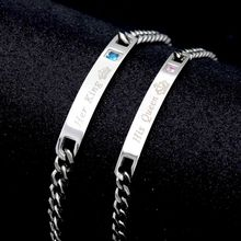 Bracelet Chain Couple Lesbian Jewelry Stainless-Steel King-Queen Crystal for 4-Styles
