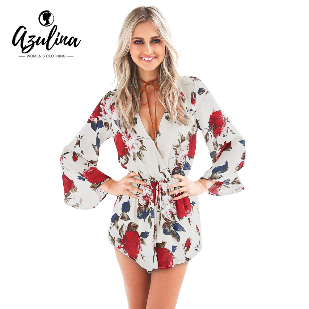 AZULINA Summer 2017 Boho Red Floral Print Casual Jumpsuit Short Romper Ladies V Neck Women Playsuit Loose Beach Chiffon Overalls