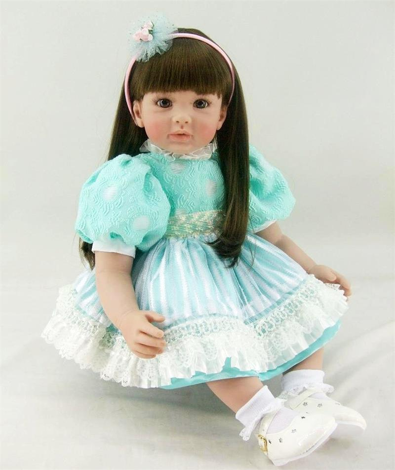 Pursue 24/60 cm Cute Silicone Reborn Toddler Princess Girl Baby Doll with Green Dress Soft Cotton Body Toddler Girl Doll Toys