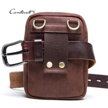 Real Leather Men's Fanny Waist Bag Travel Mini Belt Waist Pack Cowhide Hook Bum Bag Male Phone Pouch Multifunction Messenger Bag real leather cowhide retro men design casual daily use small waist belt bag hook pack fashion 5 phone case waist pouch 6185