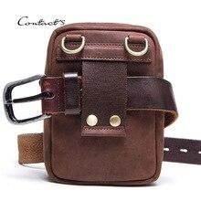 цена на Real Leather Men's Fanny Waist Bag Travel Mini Belt Waist Pack Cowhide Hook Bum Bag Male Phone Pouch Multifunction Messenger Bag