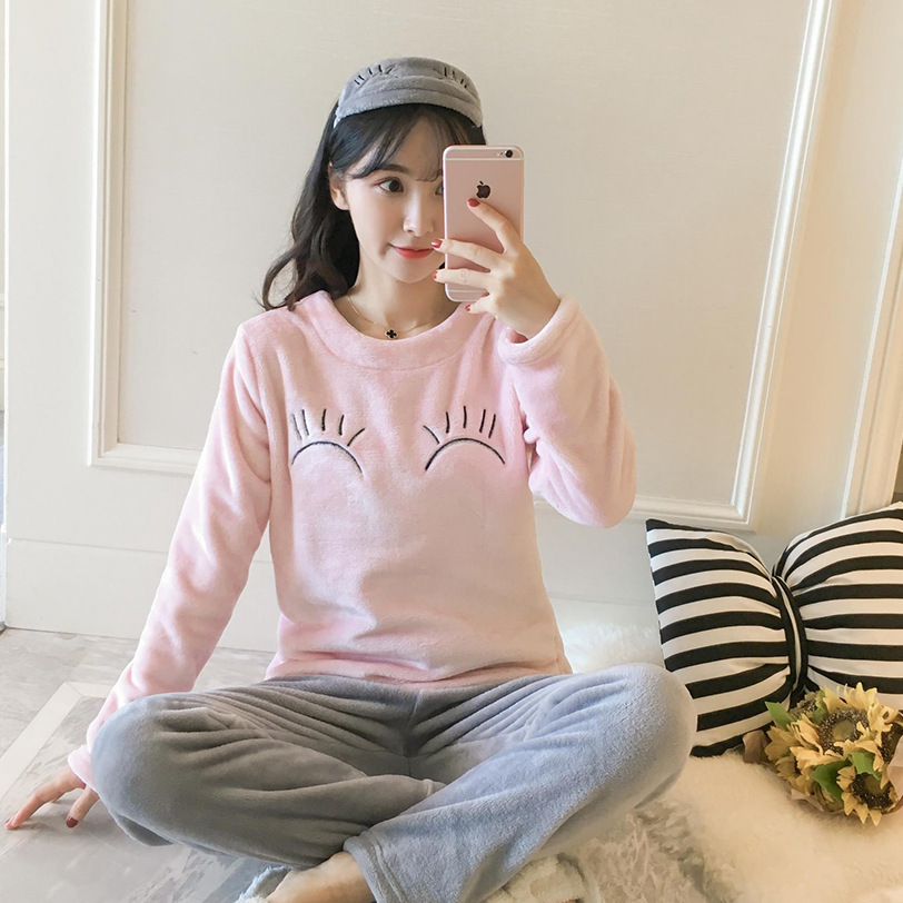 Lovely Girl Pajamas Pijama Set Winter Flannel 2PCS Sleepwear O-Neck Shirt&Pants Home Wear Oversize Nightwear M-3XL 4XL 5XL