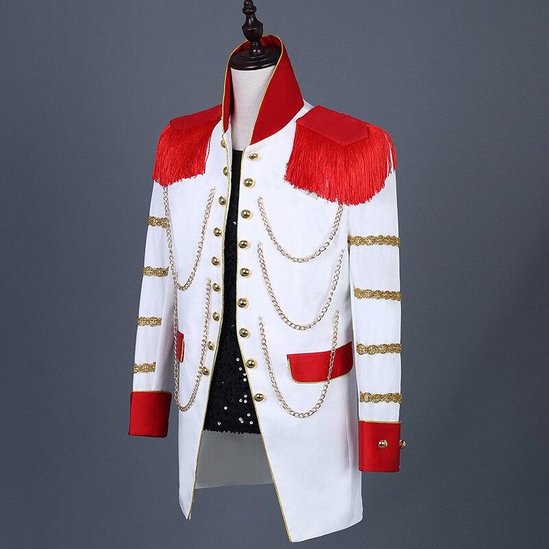 Прямые поставки, длинные красные блейзеры с кисточками, Мужская облегающая куртка, мужской костюм певицы, звезды, для ночного клуба, для кон